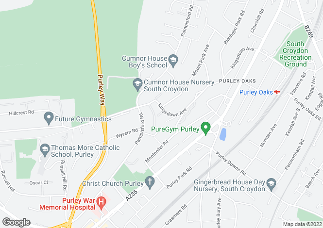Map for Kingsdown Avenue, South Croydon / Purley Boarders