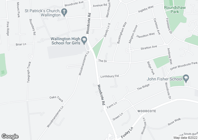 Map for Woodcote Road, South Wallington