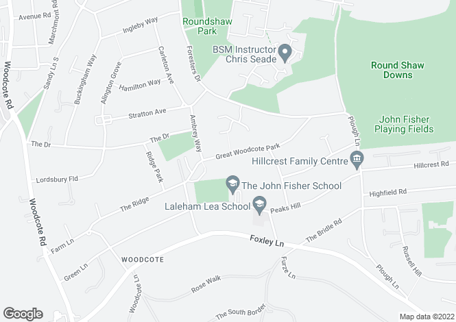 Map for Great Woodcote Park, PURLEY, Surrey
