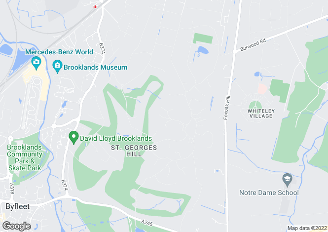 Map for St George's Hill, Weybridge, KT13
