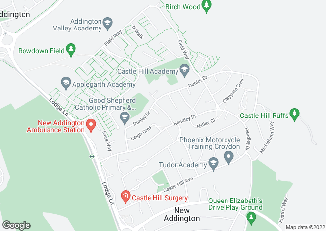 Map for Chesney Crescent, New Addington, Croydon, Surrey, CR0