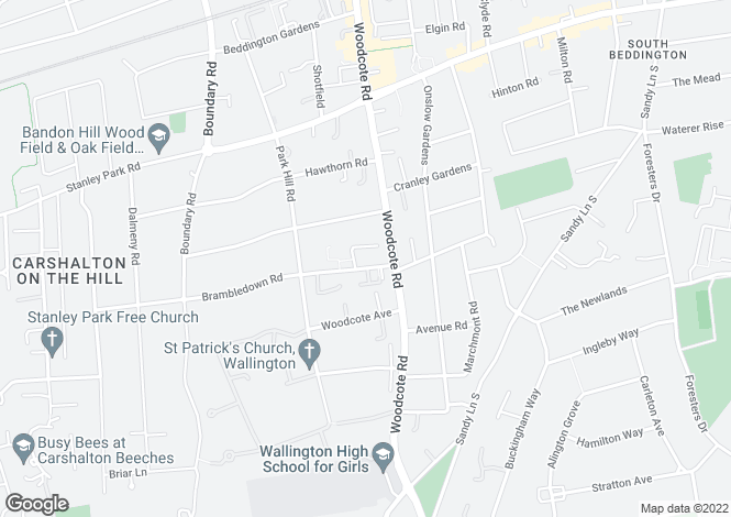 Map for Brambledown Road, Wallington, Surrey