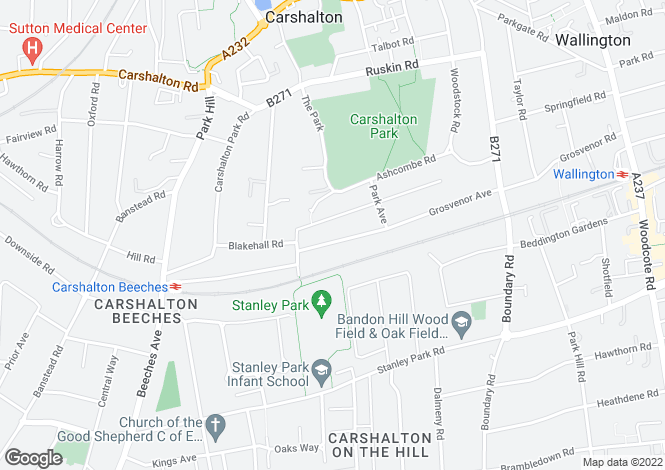 Map for Grosvenor Avenue, Carshalton