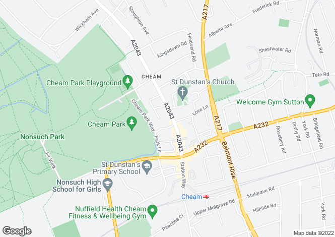 Map for Malden Road, Cheam Village, SM3