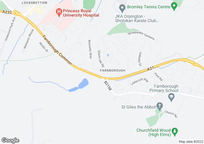 Map for Farnborough, Orpington, BR6