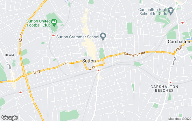 Map for Foxtons, Sutton