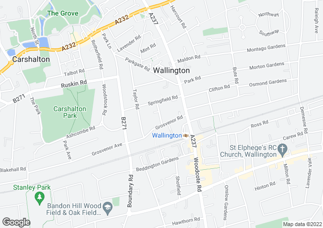 Map for Clarence Road, Wallington SM6