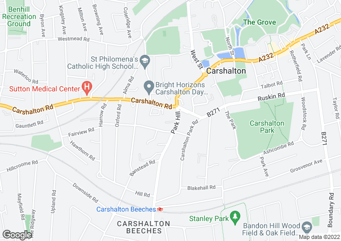 Map for Park Hill, Carshalton SM5