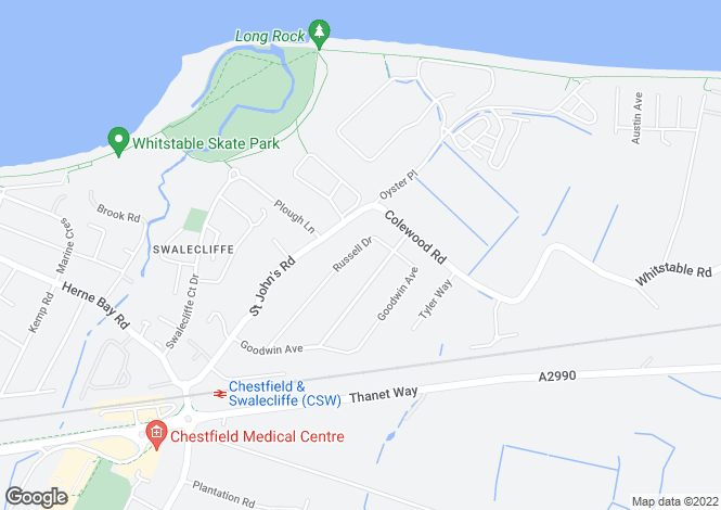 Map for Russell Drive, Whitstable CT5