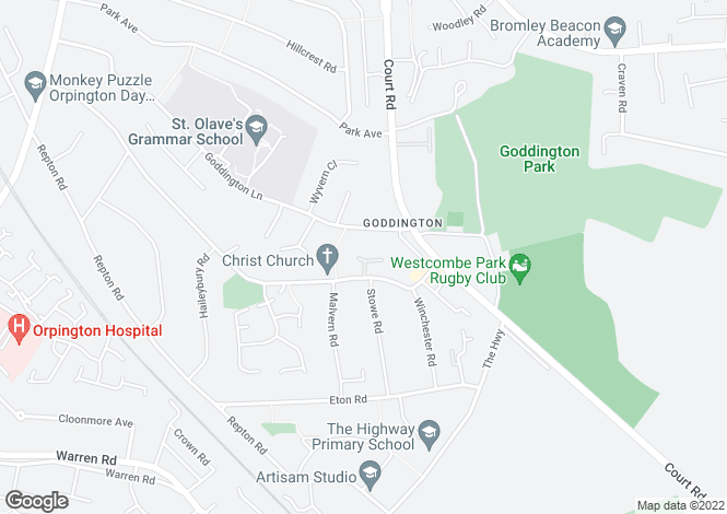 Map for Abbey Close, ORPINGTON