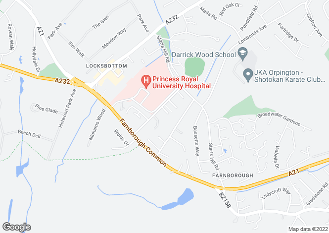 Map for Dennard Way, Farnborough, Kent