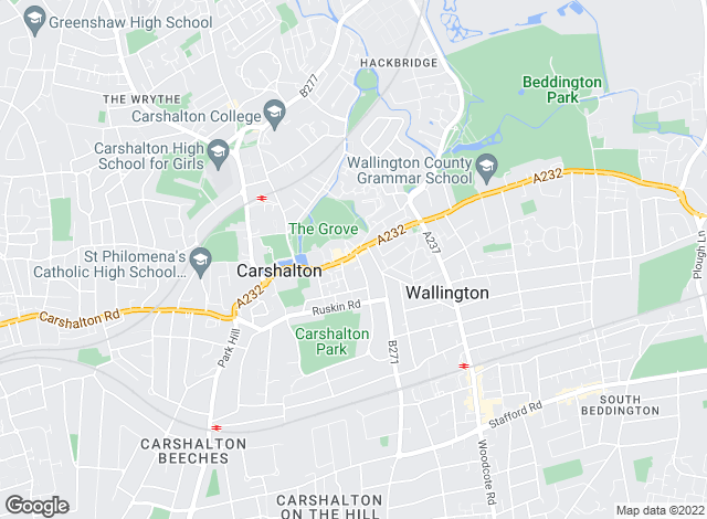 Map for Kenyons Estate Agents, Carshalton