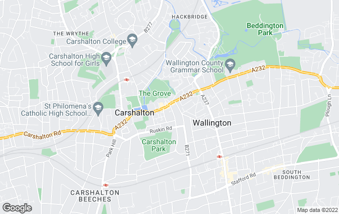Map for Ushers Estate Agents, Carshalton
