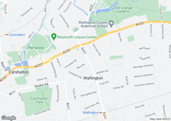 Map for Manor Road, Wallington