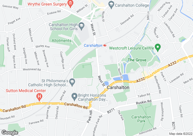 Map for West Street, CARSHALTON VILLAGE, Surrey, SM5 2PT