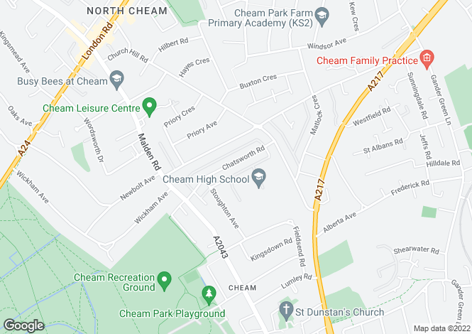 Map for Chatsworth Road Cheam