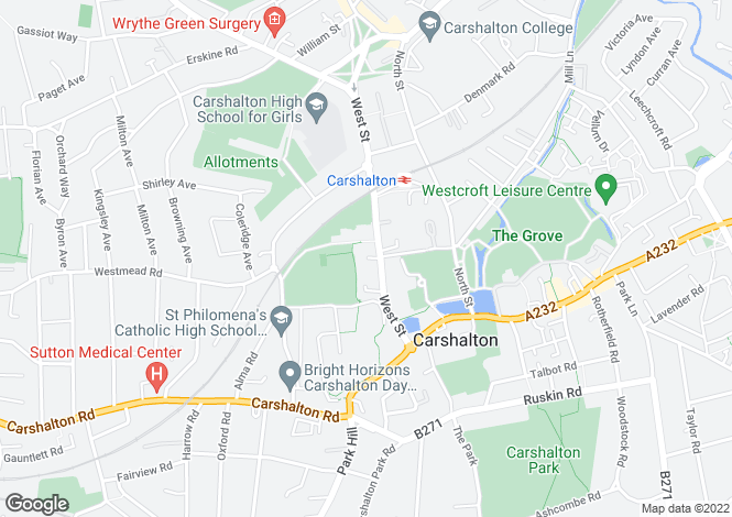 Map for West Street, Carshalton Village