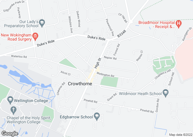 Map for Park Field House, Cambridge Road, Crowthorne, Crowthorne, RG45 7EQ
