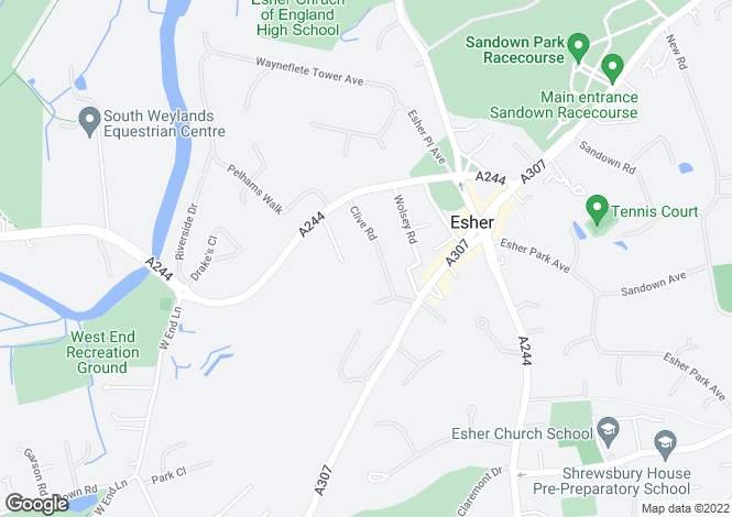 Map for Clive Rd, Esher, KT10  8PS