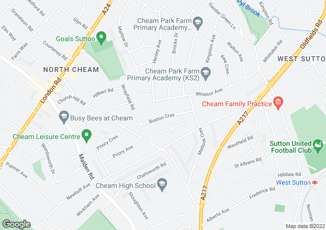 Map for Buxton Crescent North Cheam