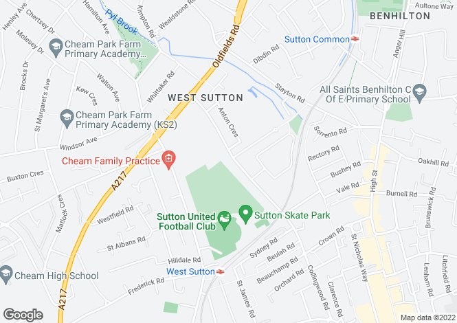 Map for Collingwood Road, Sutton