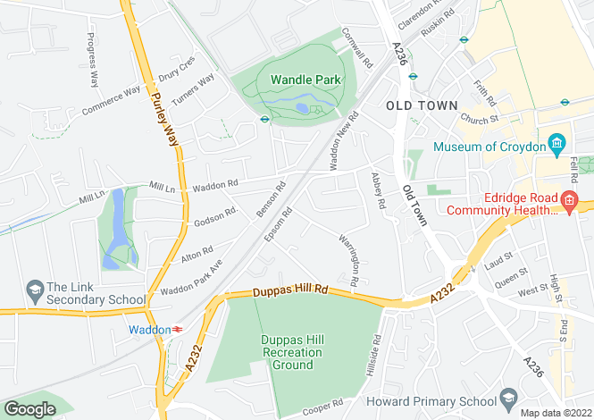 Map for Epsom Road, Croydon