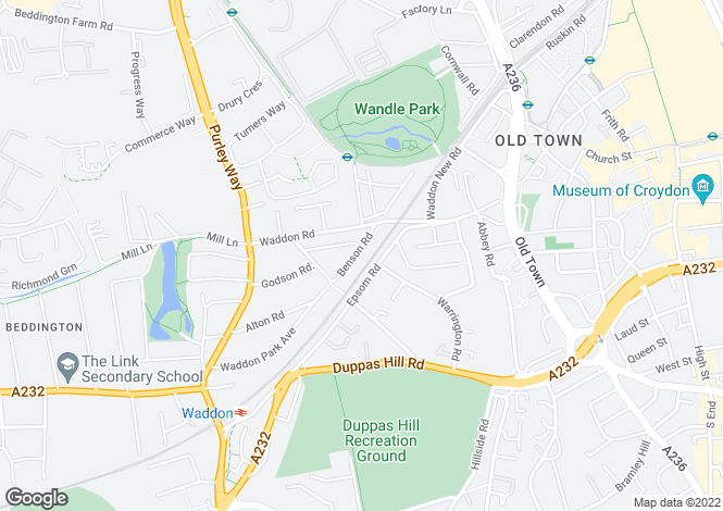 Map for Benson Road, CROYDON