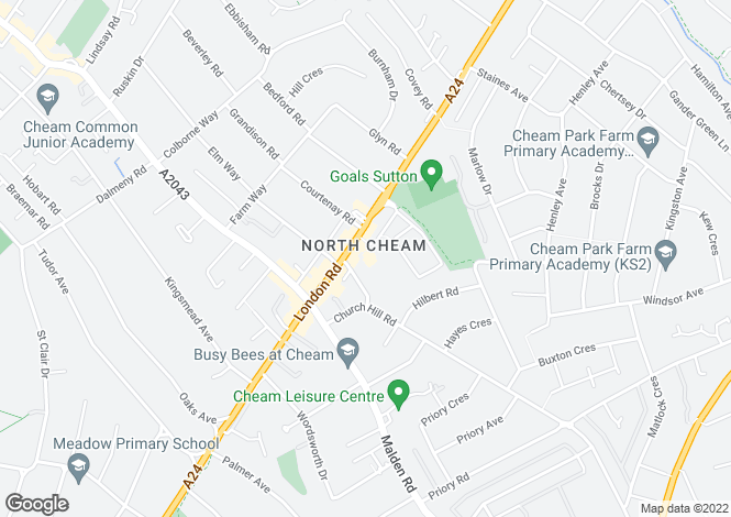 Map for London Road, North Cheam, Surrey