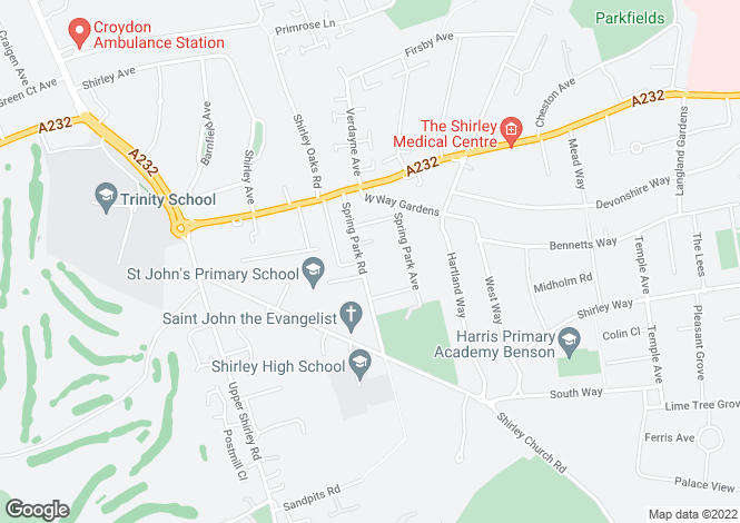 Map for Shirley, Croydon, CR0