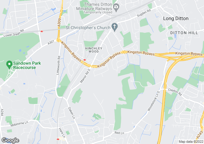 Map for Hinchley Wood, Surrey, KT10