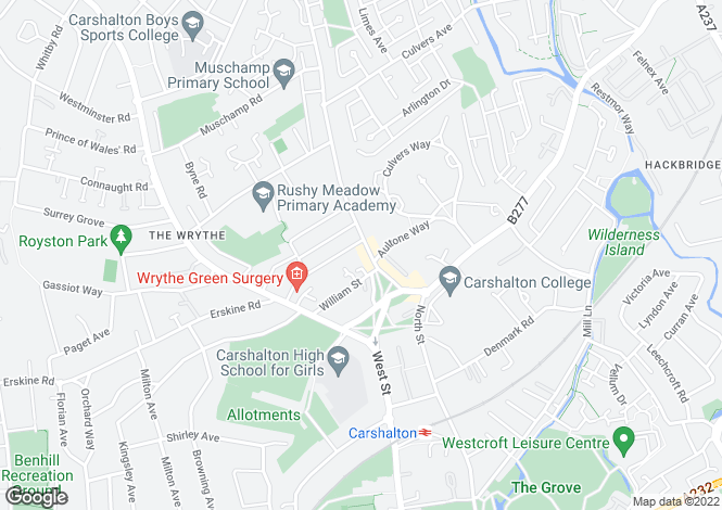 Map for Green Wrythe Lane, Carshalton, Surrey