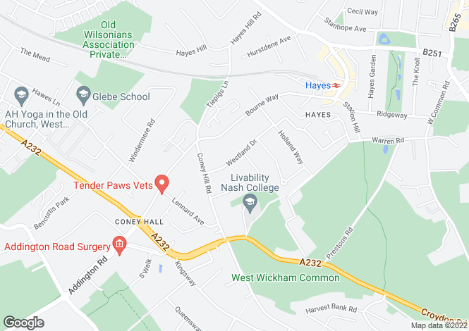 Map for Westland Drive, Bromley, BR2