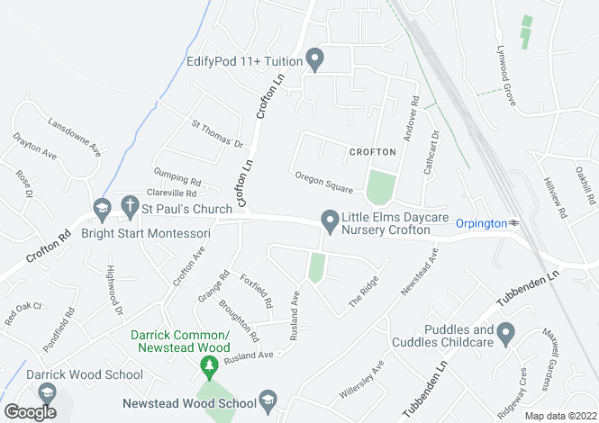 Map for Crofton Road, Orpington, Kent