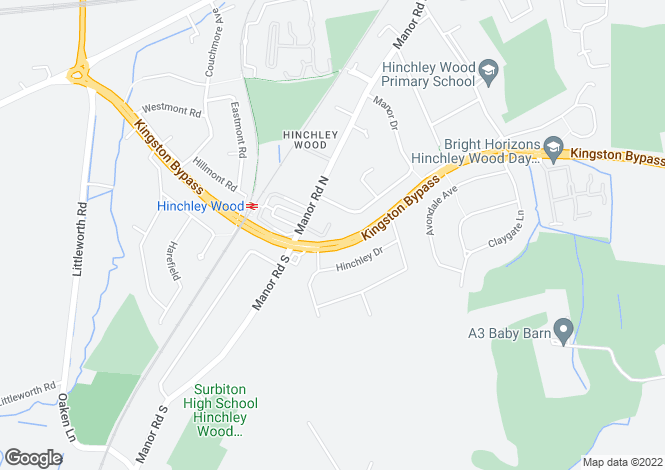 Map for Manor Road North, Hinchley Wood, Surrey