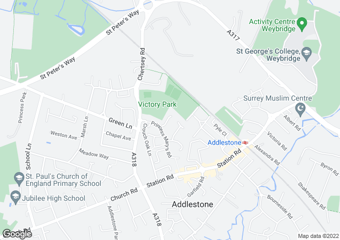 Map for Marriott Lodge Close, Addlestone, Surrey