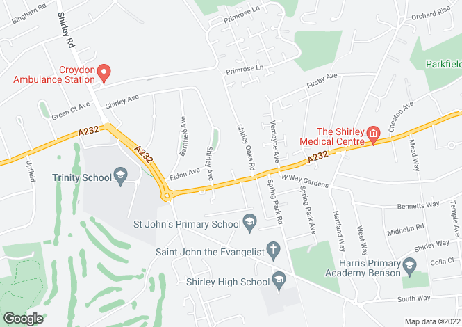 Map for Wickham Road, Shirley, Croydon