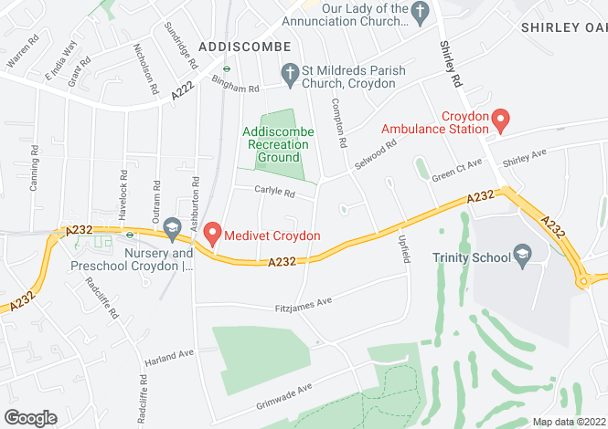 Map for Fryston Avenue, Addiscombe, Croydon