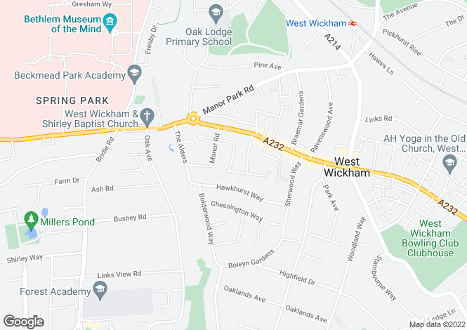 Map for Grosvenor Road, WEST WICKHAM, Kent