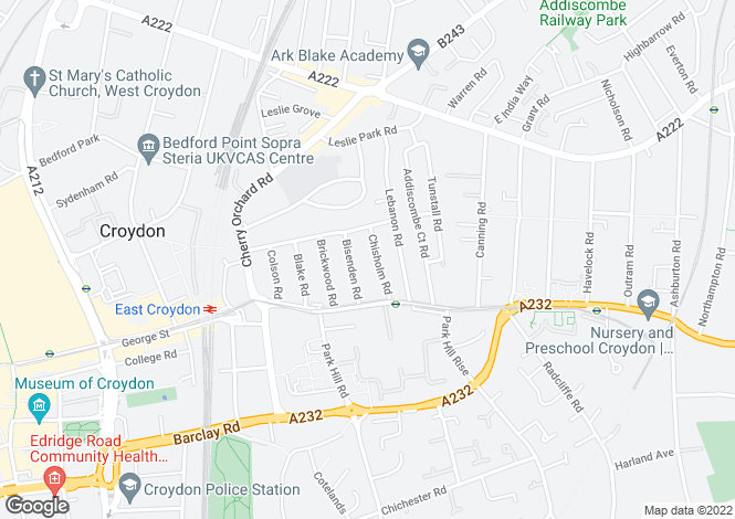 Map for Chisholm Road, Croydon, CR0