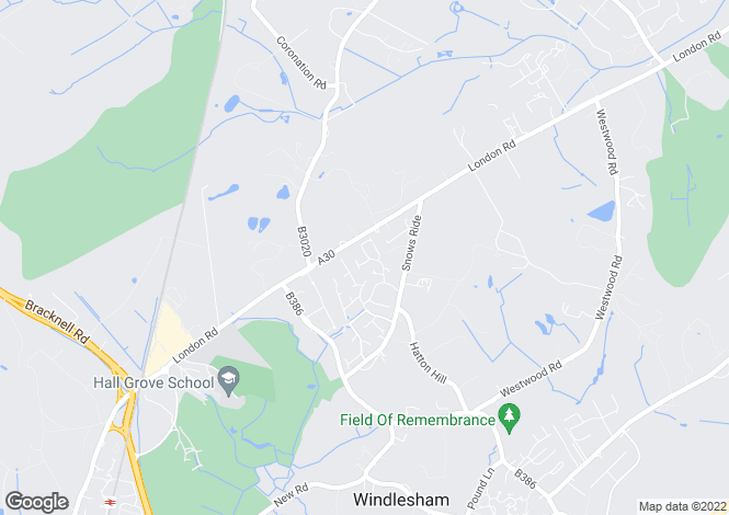 Map for Bosman Drive, Windlesham, Surrey