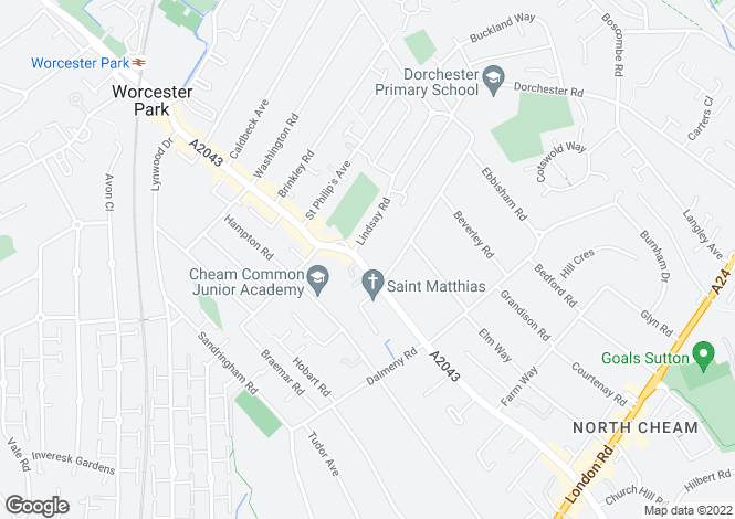 Map for Cheam Common Road,