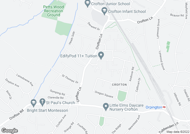 Map for Glendower Crescent, Orpington