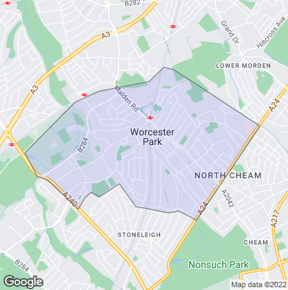 Map of property in Worcester Park
