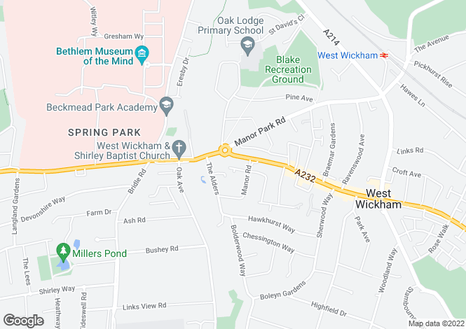 Map for Windsor Court, 203 High Street, West Wickham, Kent