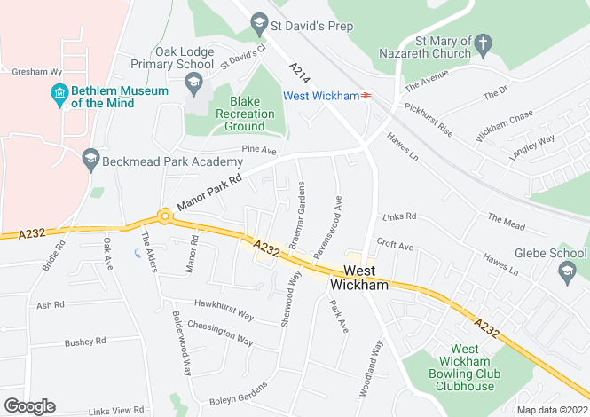 Map for Braemar Gardens, West Wickham, BR4