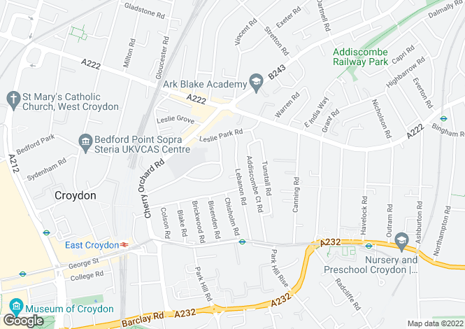 Map for Lebanon Road Croydon Surrey