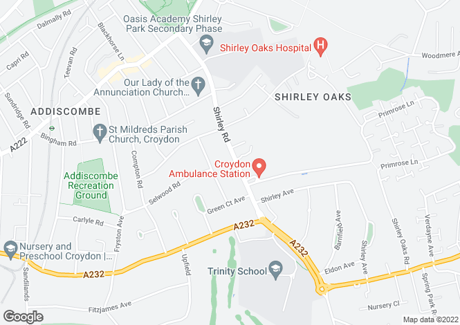 Map for Shirley, Croydon, Surrey