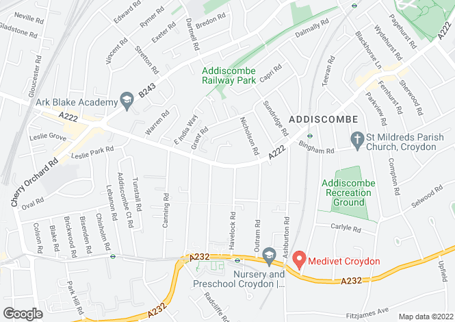 Map for Lower Addiscombe Road, Croydon