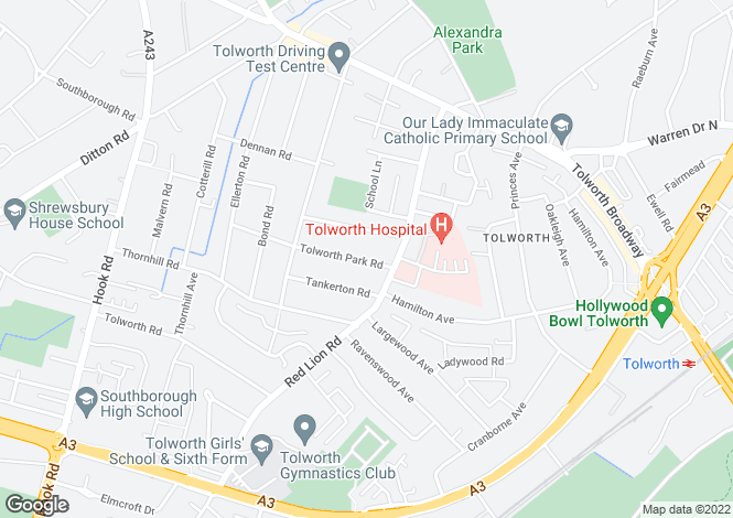 Map for Tolworth Park Road, Surbiton