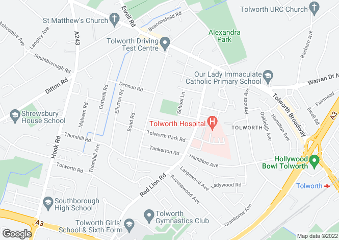 Map for Ravenscar Road, Surbiton, KT6